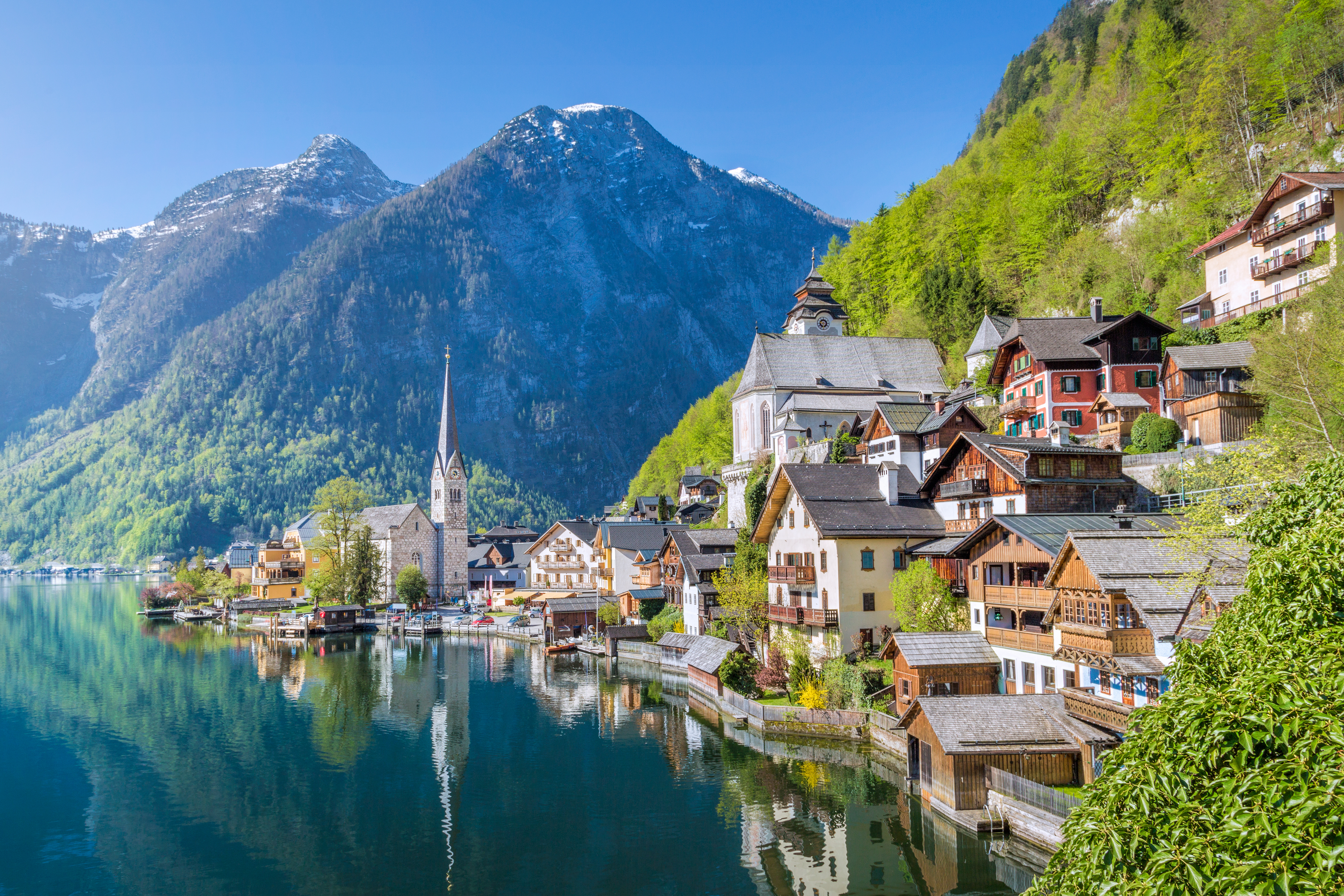 Classic view over Hallstatt in the morning in summer, Salzkammergut, - most photographed point in the world